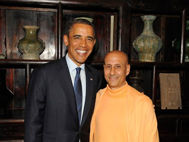 US President Mr. Barack Obama meets H.H Radhanath Swami thumbnail